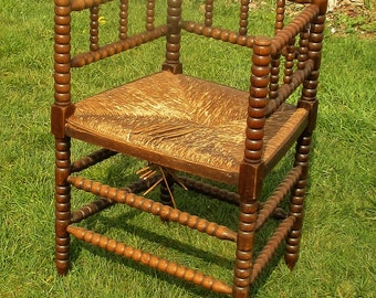 Corner Chair twisted wood Rush Wicker seating Dutch Authentic