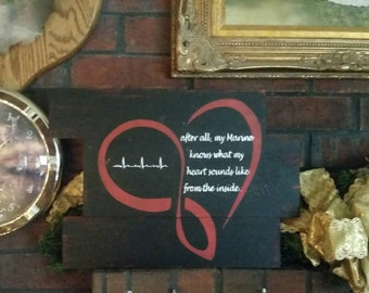 USMC MoM Heartbeat Sign-Marine Mom Heartbeat Sign-After All My Marine Sign