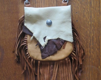 Rustic Deerskin Belt Loop Hip Bag with Fringe, Cream and Mixed Browns