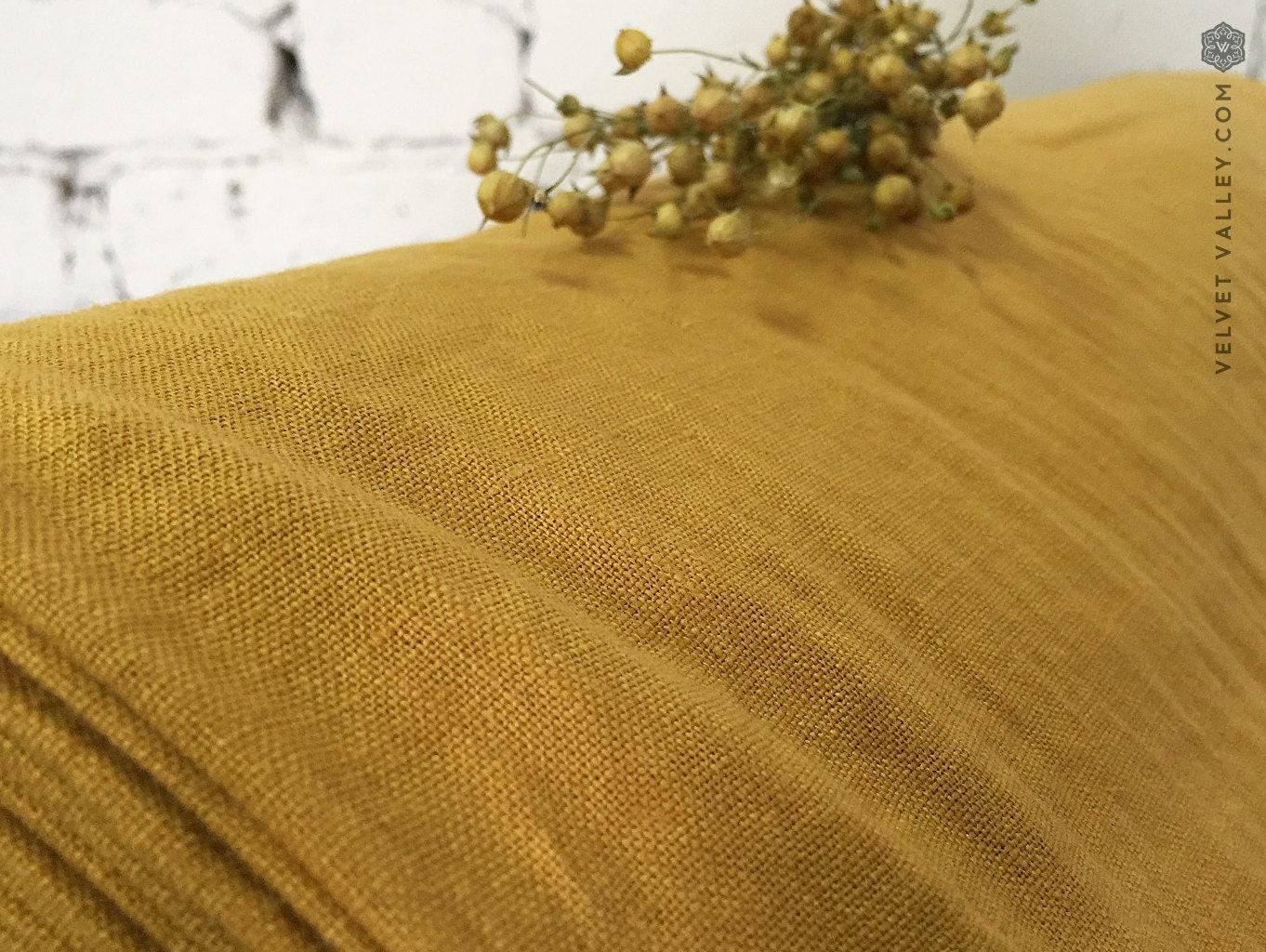Octopus shower curtain cafe press - Softened Light Mustard Linen Fabric Light Warm Honey Colour Dense Light Weight Thick Linen