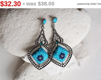 SALE Teal blue earrings, Turquoise earrings, teal blue earrings, blue flower earrings, blue earrings, light blue earrings, dangle earring