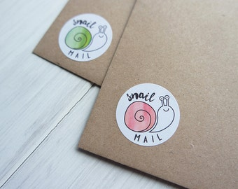 40 Snail Mail Stickers Happy Post Letter Small Envelope Seals Watercolour Peach Blue Green Pink 32mm / Stationery / 233