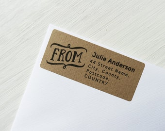 30 Custom Return Address Labels Personalized Kraft Brown Address From Stickers / 916