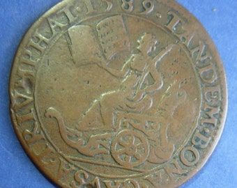 Rare Historic Medal Of Queen Elizabeth Ist Dated 1589. The Defeat Of The Spanish Armada. A Desirable Original Medal