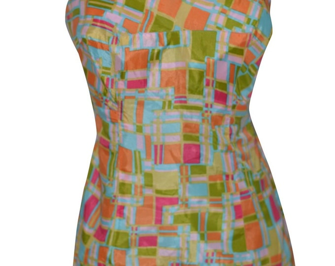 Hutzlers Gabor New York Vintage Estate Blue Green Pink Orange Yellow Playsuit Swimsuit