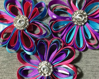 Purple/Pink/Teal or Turquoise Flower Hair Bow Clips. Purple/Pink/Teal/Turquoise/Flower