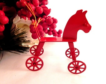 Rocking Horse Ride On Ornament Old Fashioned Four Wheel Toy Repliaca Miniature  Red Metal Vintage Christmas Tree Ornament