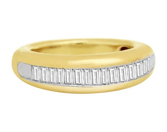 0.75 CT Men's Diamond Baguette Wedding Band in 14KT Yellow Gold