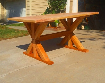 Rustic Small Pedestal Trestle Dining Table