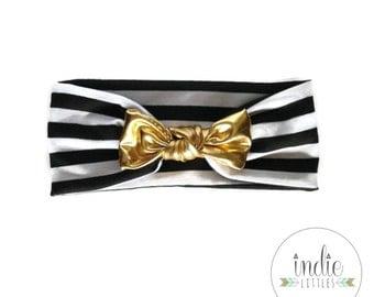 Black and White Stripe Gold Bow Headband / Knot Tied Headbands / Newborn Baby Girl Kids Women Children Adult / Striped Headwrap Turban