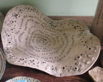 Organic handmade plate with poetry