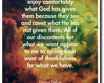 "Daniel Defoe Quote Poster (Robinson Crusoe) ""...thankfulness for what we have."" Photo Print Art Gift"
