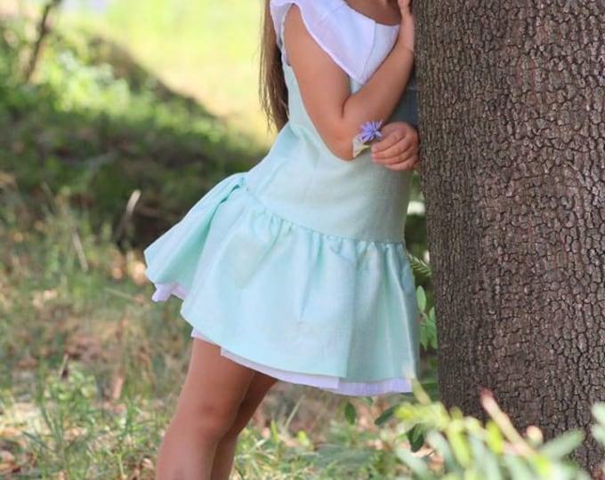 SALE 50%, BEFORE-67,50, NOW-33,75,Dress agua tone, Dress light silver sheer, Summer dress girls, Toddler girls dress, Special occasion dress