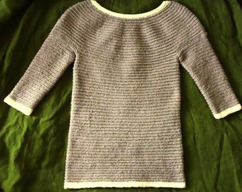Viking Brown White Wool Sweater / Nalbinding Knit Crochet / Handmade Women Jumper Boat Neck / S M L / Handmade Medieval Reenactment Pagan