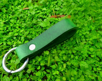 Handmade leather keychain in green with ring or spring clip