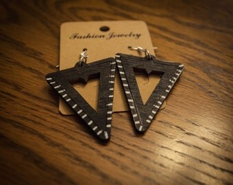 Black with White Stripe Wood Triangle Earrings