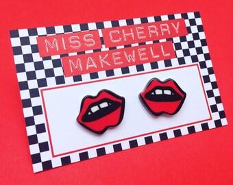 Puker Up Red Lips Pout Kiss Kawaii Kitsch Harajuku Kei Acrylic Stud Earrings by Miss Cherry Makewell