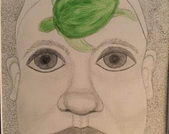 Sea Turtles on My Mind I, ooak pencil/acrylic 11x14