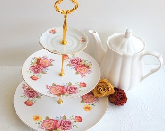 Lovely 3 Tier Cake Stand. Cupcake Stand. Floral Cake stand. Tiered Stand with Roses.Tea Party,Bridal Shower,Baby shower,Wedding Centerpiece