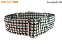 "CLEARANCE Houndstooth Blue and Brown  Large 1.5"" Martingale 18""-24"""