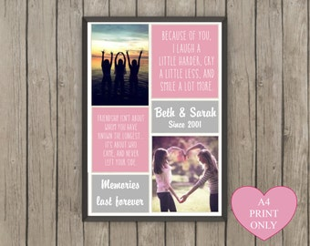 Personalised friendship gift couples gift your pictures your quotes engagement wedding anniversary paper anniversary