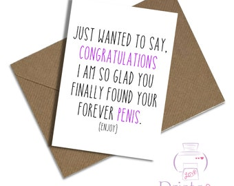 Funny engagement card hen do Bachelorette A5 / Forver penis