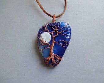 Blue Agate wire work Tree of Life Moon copper wire wrapped pendant necklace