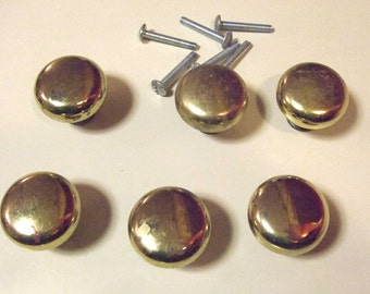Lot of Six 6 Vintage Round Solid Brass Cabinet Door Drawer Knobs Pulls 1.25 Inch Diameter Screws Dresser Furniture Hardware 3 Bags Available