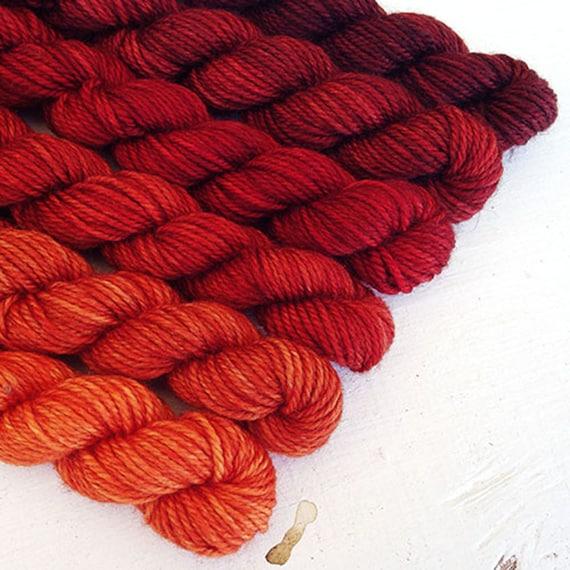 BLOODY MARY 480 yard mini-skein set, High Twist Sock, superwash, merino, fingering weight, sock yarn, gradient, ombre