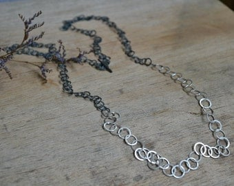 Ready to Ship! // Handmade Sterling Silver + Oxidised Silver Statement Chain Necklace