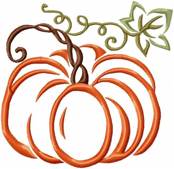 Pumpkin with vines machine embroidery design by