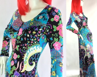 Vintage 1960s psychedelic maxi dress / gown  / pop psych /flower print / japanese / oriental