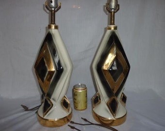 Vintage Atomic Period Pair Table Lamps
