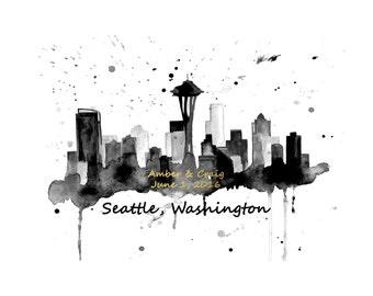 Personalized Wedding Gift, Seattle Skyline Print, Personalized Seattle Skyline, Anniversary Gift,  Seattle Skyline Art, Custom Skyline Print