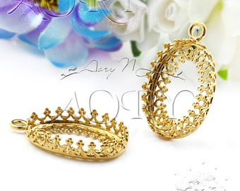 1pcs 24K Gold Plated Brass Filigree Wire Crown Bezel Pendant Setting 18x13mm, Israeli Gold Plated Technology, N3305GP, Top Quality, Israel