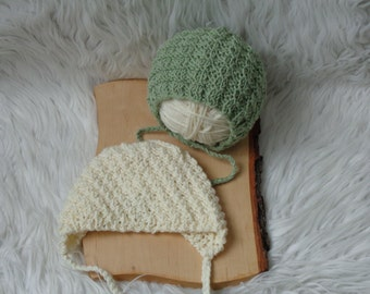 SALE:Newborn  Bonnet.Baby Bonnet.Baby Girl and Boy Bonnet.Knitted Baby Girl Bonnet.