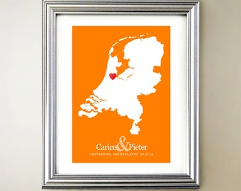 Netherlands Custom Vertical Heart Map Art - Personalized names, wedding gift, engagement, anniversary date