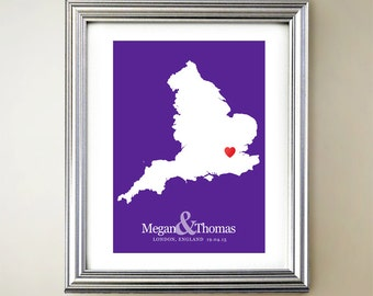 England Custom Vertical Heart Map Art - Personalized names, wedding gift, engagement, anniversary date