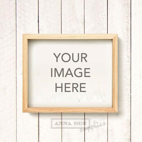 Horizontal Blond Wood Natural Wood Frame Mockup On White