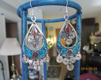 Handmade Red Coral & Turquoise Tibetan Silver Dangle Earrings 2 1/2 IN Long, Wt. 17g