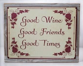 Framed Good Wine Good Friends Good Times Metal Sign, Kitchen, Home Decor, Bar Décor  HB7033F