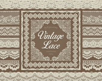 "Digital Lace Borders Clip Art ""Vintage Lace Borders"" clipart  with digital vintage lace border images for scrapbooking, card making, invites"