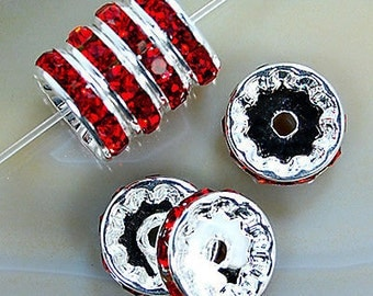 Silver Plated 8mm Red Crystal Rhinestone Spacer Wheel Rondelles Bead charms -beads spacers charm,  stone connectors spacers