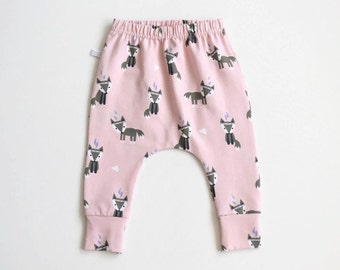 Pink slim fit harem pants with foxes. Baby or infant pants. Jersey knit fabric. Kids leggings with cuffs. Cute small foxes pattern