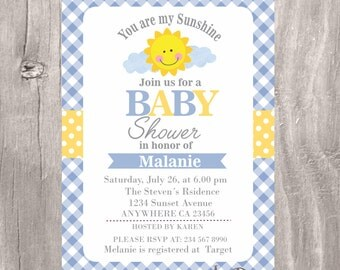 Sunshine Baby Shower Invitation, Printable You are my Sunshine Blue and Yellow Baby Shower Invite, Personalized Sunshine Shower Boy Invite