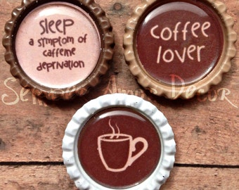 Coffee Decor, Bottle Cap Magnets, Coffee Kitchen Decor, Coffee Magnet, Men Stocking Stuffer, Bottle Cap Gifts, Gift For Men, Office Supplies