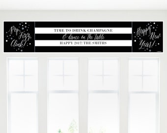 "New Year's Eve - Silver Banner - 12"" x 60"" Black and Gold Decoration for a New Year's Eve Party"