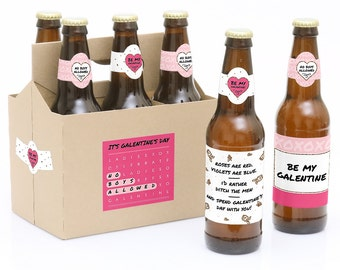 Be My Galentine - Valentine's Day 6 Beer Bottle Labels & 1 Carrier Gift - Waterproof