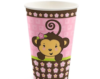 8 Count - Monkey Girl Hot/Cold Cups - Baby Shower or Birthday Party Supplies