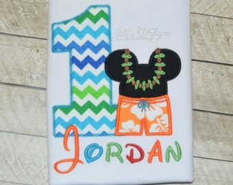 Personalized Custom Name Monogram Birthday Shirt Disney Mickey Mouse Hawaii Surfer Beach Mister Mouse Any Number 1-9 Available